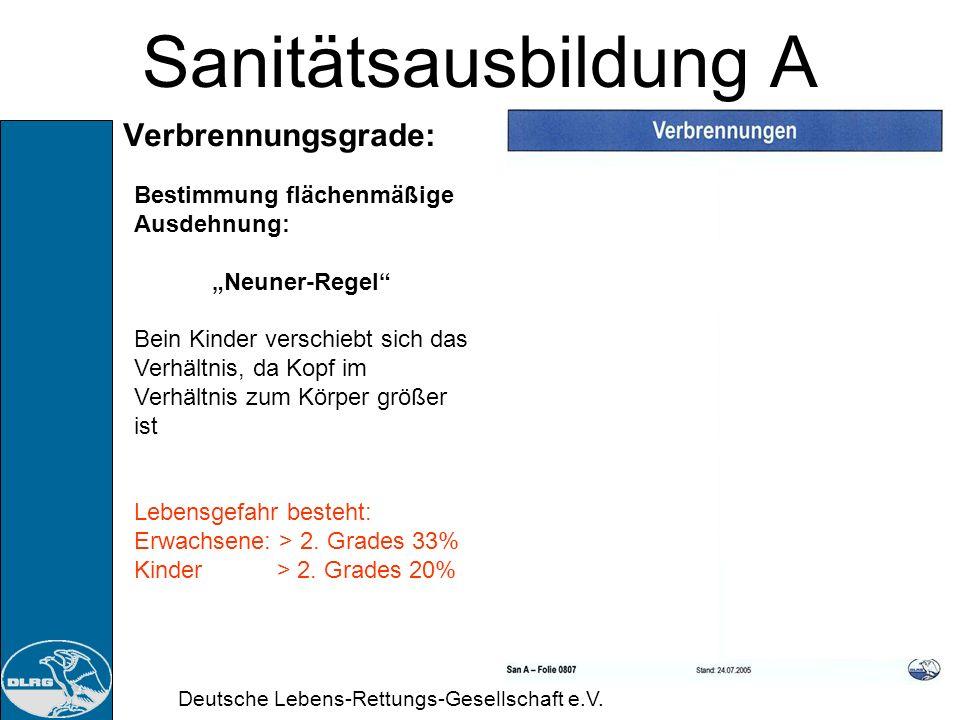 Deutsche Lebens-Rettungs-Gesellschaft e.V. Sanitätsausbildung A Verbrennungsgrade: 3. Grades: Vollkommene Zerstörung des Deckgewebes und tieferer Schi