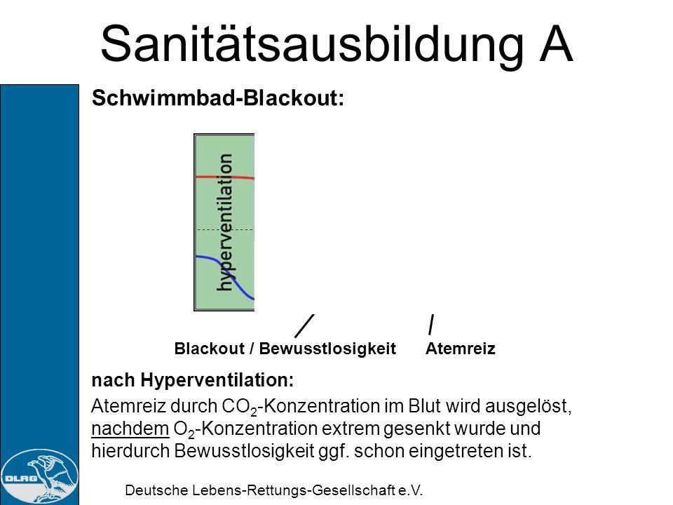 Deutsche Lebens-Rettungs-Gesellschaft e.V. Sanitätsausbildung A Schwimmbad-Blackout: ohne Hyperventilation: Atemreiz durch CO 2 -Konzentration im Blut