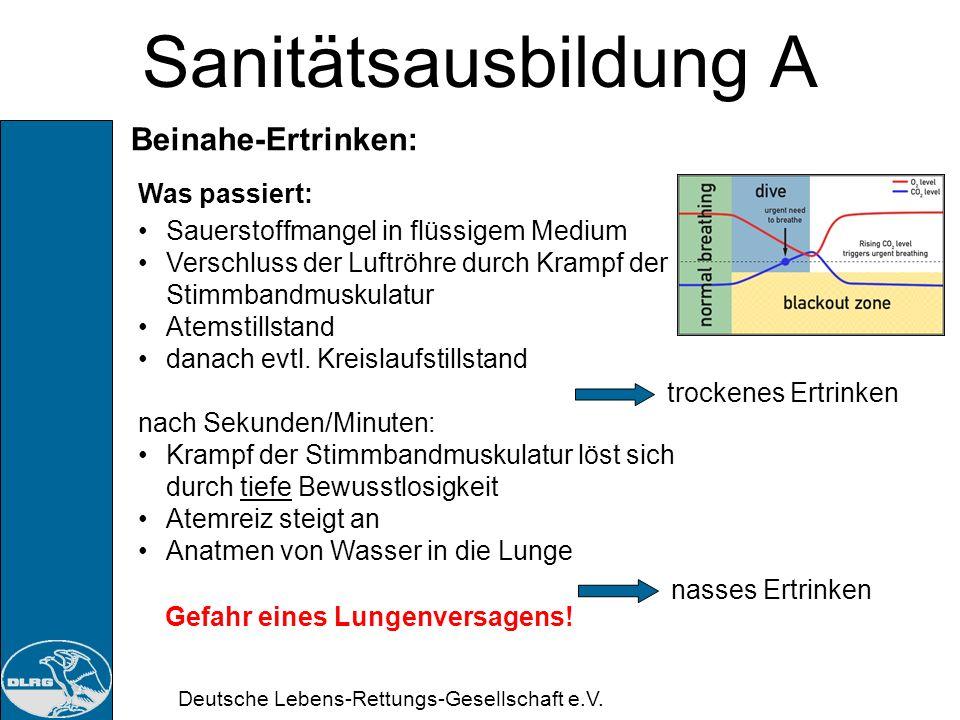 Deutsche Lebens-Rettungs-Gesellschaft e.V. Sanitätsausbildung A Beinahe-Ertrinken: Definition: Ein Vorgang, bei dem ein Patient nach Atemstörung infol