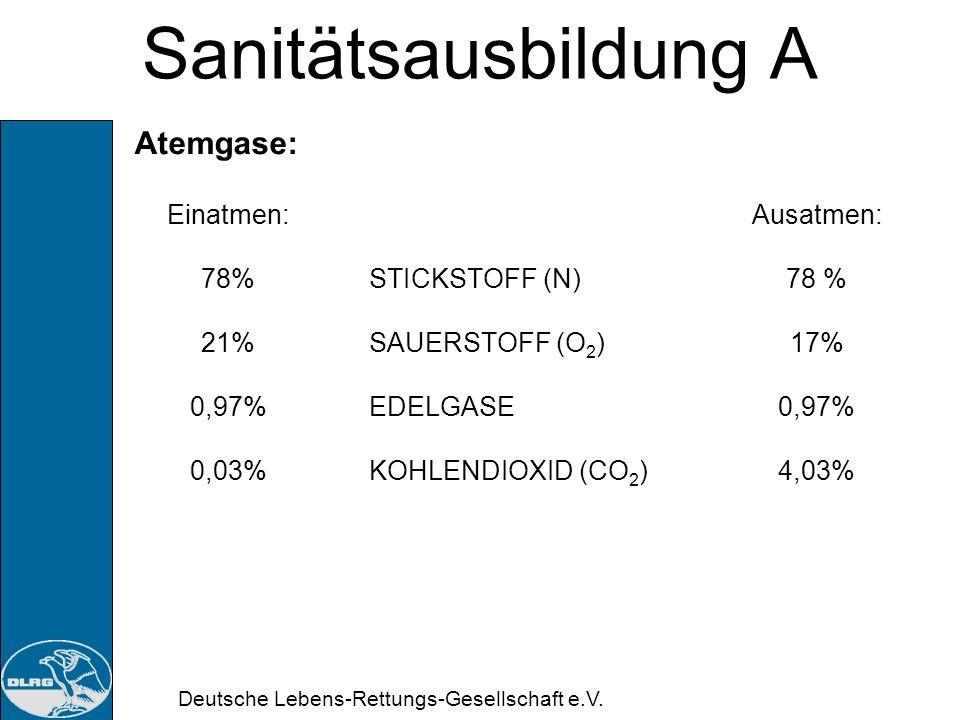 Deutsche Lebens-Rettungs-Gesellschaft e.V. Sanitätsausbildung A Atemvolumina: Luftvolumen pro Atemzug im Ruhezustand: Erwachsenen:ca. 500ml Jugendlich
