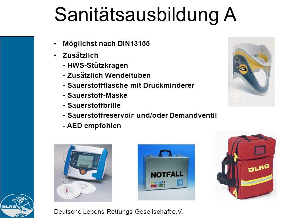Deutsche Lebens-Rettungs-Gesellschaft e.V. Sanitätsausbildung A Bodycheck: Schädel, Hals Anschauen, Abtasten Schultergürtel Zug und Druck am Schulterg