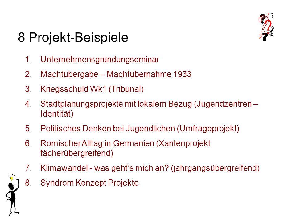 8 Projekt-Beispiele 1.Unternehmensgründungseminar 2.Machtübergabe – Machtübernahme 1933 3.Kriegsschuld Wk1 (Tribunal) 4.Stadtplanungsprojekte mit loka