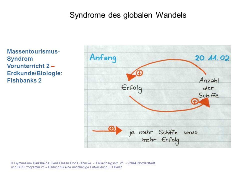 Syndrome des globalen Wandels © Gymnasium Harksheide Gerd Clasen Doris Jahncke - Falkenbergsstr. 25 - 22844 Norderstedt und BLK Programm 21 – Bildung