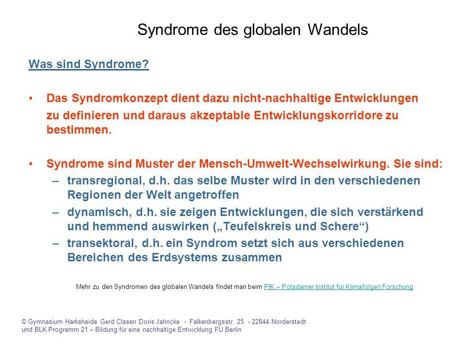Was sind Syndrome? Das Syndromkonzept dient dazu nicht-nachhaltige Entwicklungen zu definieren und daraus akzeptable Entwicklungskorridore zu bestimme