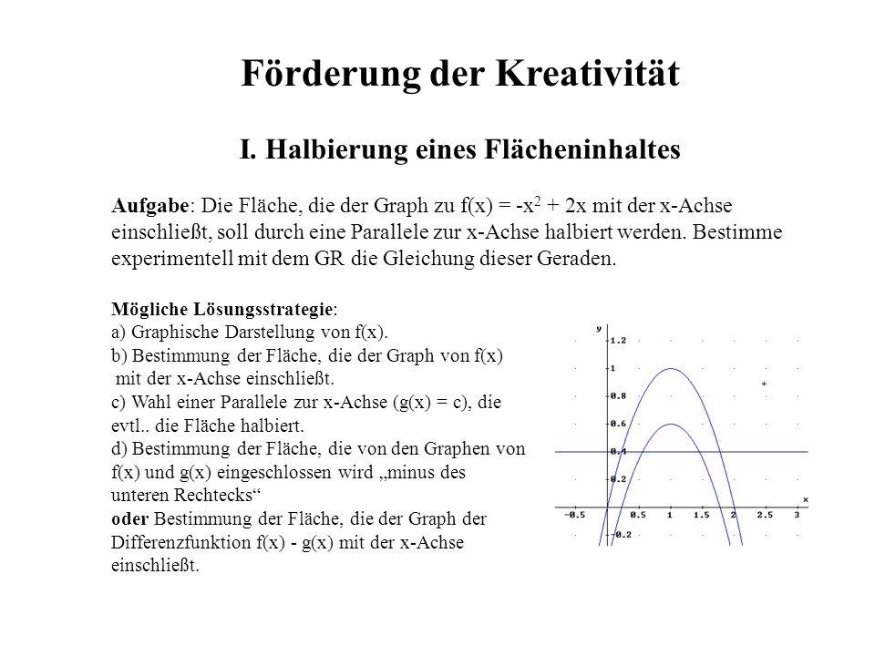 Förderung der Kreativität I. Halbierung eines Flächeninhaltes Aufgabe: Die Fläche, die der Graph zu f(x) = -x 2 + 2x mit der x-Achse einschließt, soll