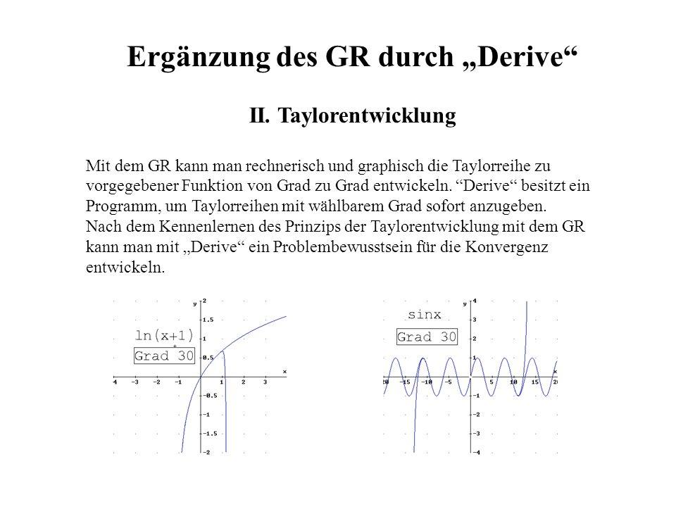 Ergänzung des GR durch Derive II. Taylorentwicklung Mit dem GR kann man rechnerisch und graphisch die Taylorreihe zu vorgegebener Funktion von Grad zu