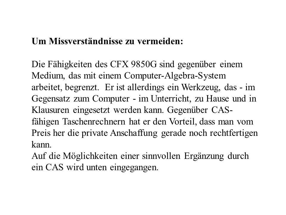 Um Missverständnisse zu vermeiden: Die Fähigkeiten des CFX 9850G sind gegenüber einem Medium, das mit einem Computer-Algebra-System arbeitet, begrenzt