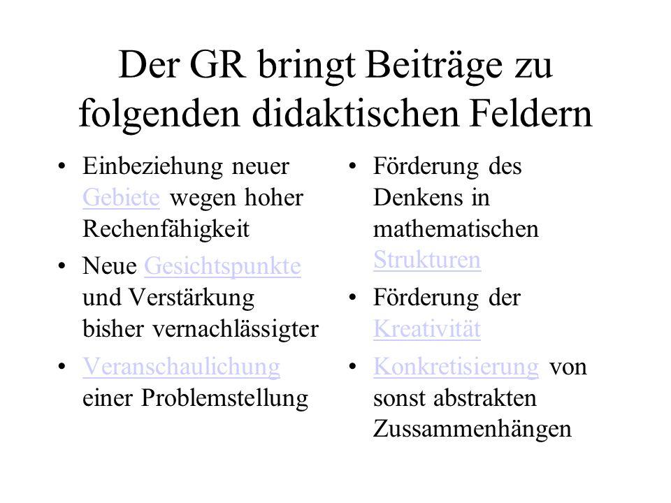 Der GR bringt Beiträge zu folgenden didaktischen Feldern Einbeziehung neuer Gebiete wegen hoher Rechenfähigkeit Gebiete Neue Gesichtspunkte und Verstä