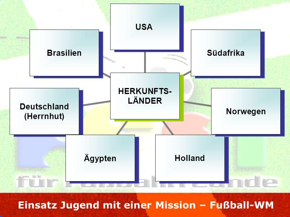 Einsatz Jugend mit einer Mission – Fußball-WM HERKUNFTS- LÄNDER USASüdafrikaNorwegenHollandÄgypten Deutschland (Herrnhut) Brasilien