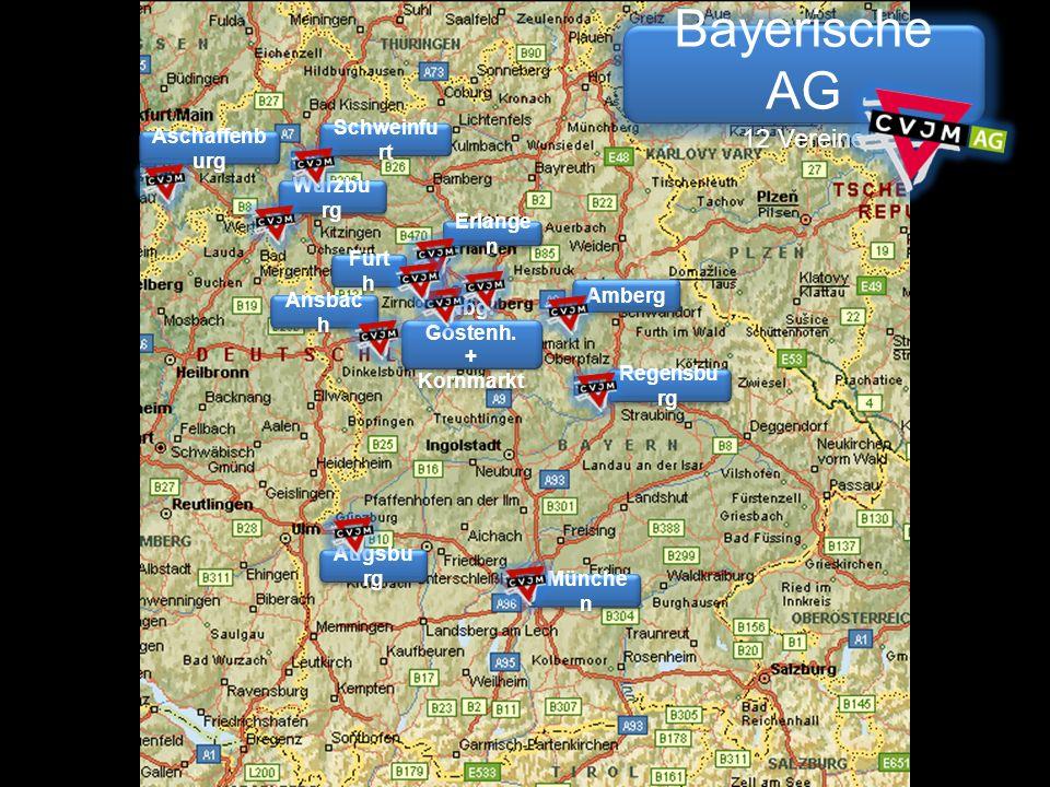 Bayerische AG 12 Vereine Bayerische AG 12 Vereine Aschaffenb urg Schweinfu rt Würzbu rg Münche n Regensbu rg Amberg Augsbu rg Ansbac h Erlange n Nbg.
