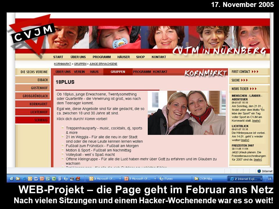 WEB-Projekt – die Page geht im Februar ans Netz Nach vielen Sitzungen und einem Hacker-Wochenende war es so weit.