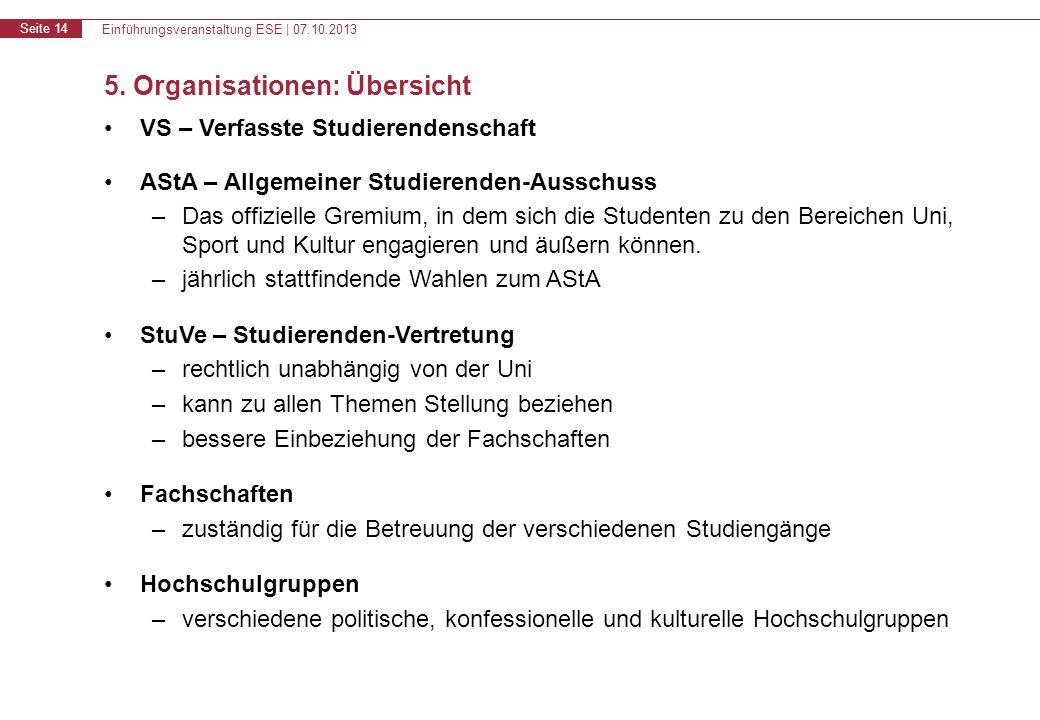 Einführungsveranstaltung ESE | 07.10.2013 Seite 14 5.
