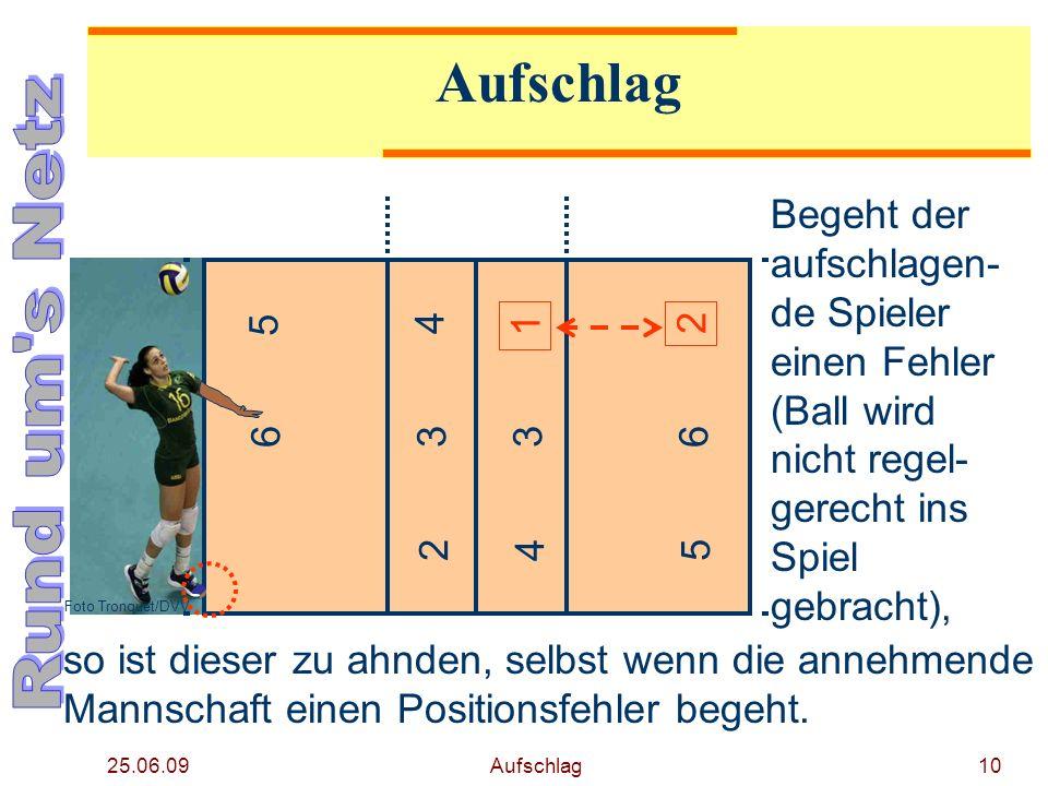 25.06.09 Aufschlag9 4 5 6 2 3 2 1 3 45 6 Foto Tronquet/DVV Hier sind die Bedingun- gen zur Aus- führung des Aufschlags erfüllt. Begeht nun die anneh-