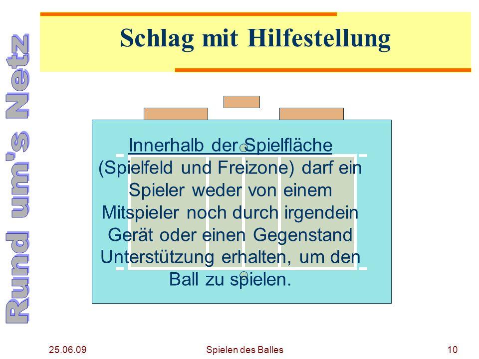 25.06.09 Schlag mit Hilfestellung Innerhalb der Spielfläche (Spielfeld und Freizone) darf ein Spieler weder von einem Mitspieler noch durch irgendein