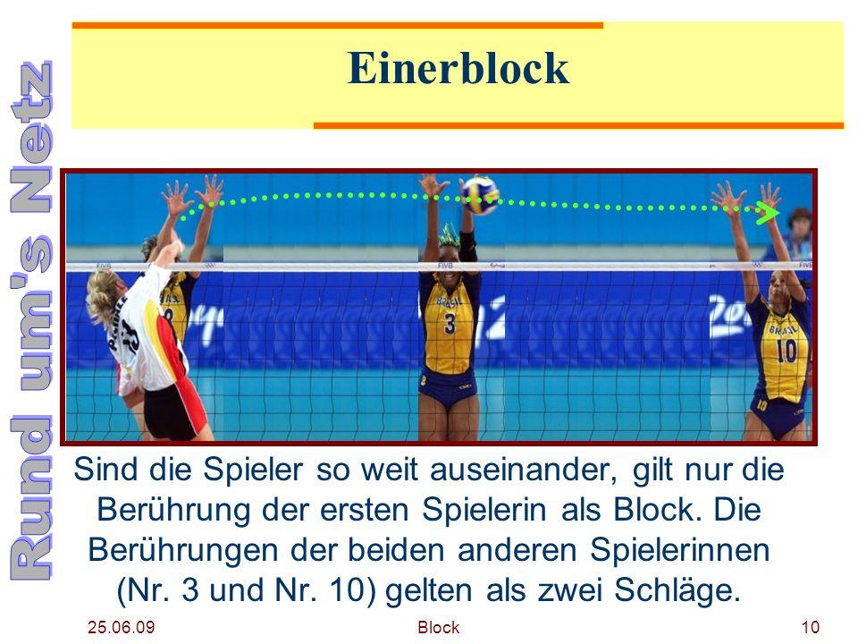 25.06.09 Block10 Einerblock Sind die Spieler so weit auseinander, gilt nur die Berührung der ersten Spielerin als Block. Die Berührungen der beiden an