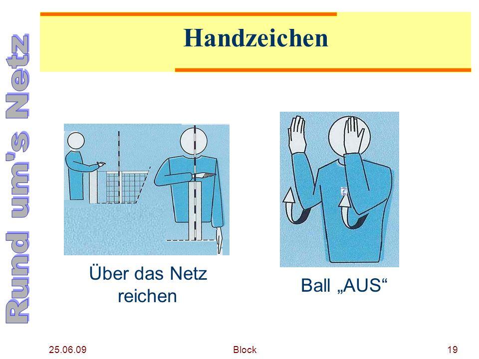 25.06.09 Block19 Handzeichen Über das Netz reichen Ball AUS