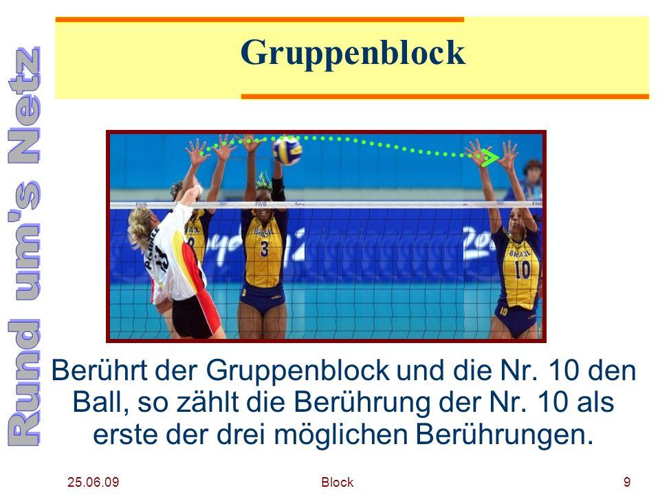 25.06.09 Block9 Gruppenblock Berührt der Gruppenblock und die Nr. 10 den Ball, so zählt die Berührung der Nr. 10 als erste der drei möglichen Berührun
