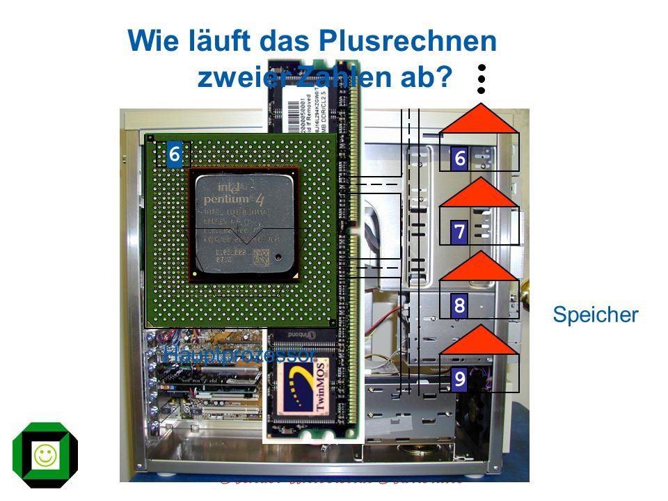 Kinder-Universität Karlsruhe Wie läuft das Plusrechnen zweier Zahlen ab? Hauptprozessor Speicher 6789 6
