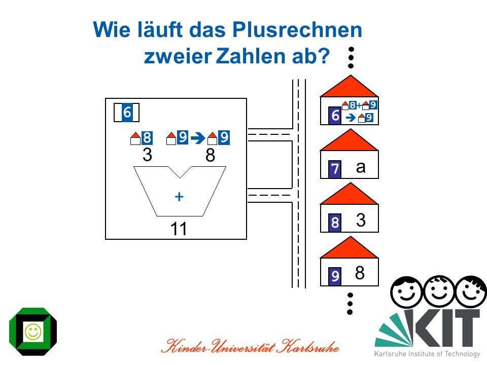 Kinder-Universität Karlsruhe 9 11 8 + 3 Wie läuft das Plusrechnen zweier Zahlen ab? 678 a 8 3 6 8 9 9 8 9 + 9