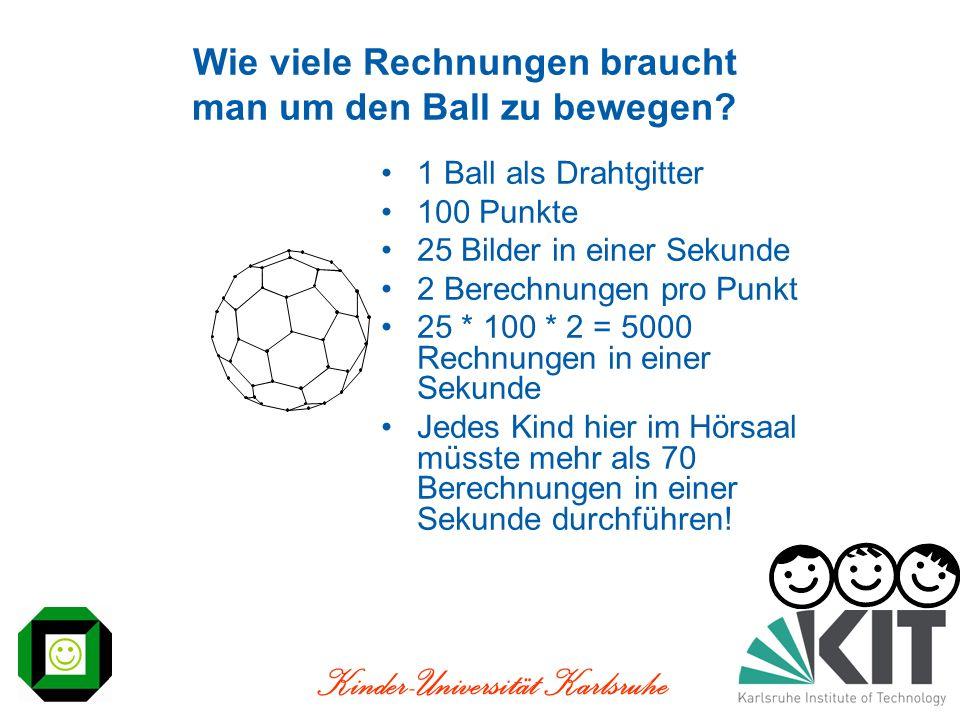 Kinder-Universität Karlsruhe Wie viele Rechnungen braucht man um den Ball zu bewegen? 1 Ball als Drahtgitter 100 Punkte 25 Bilder in einer Sekunde 2 B