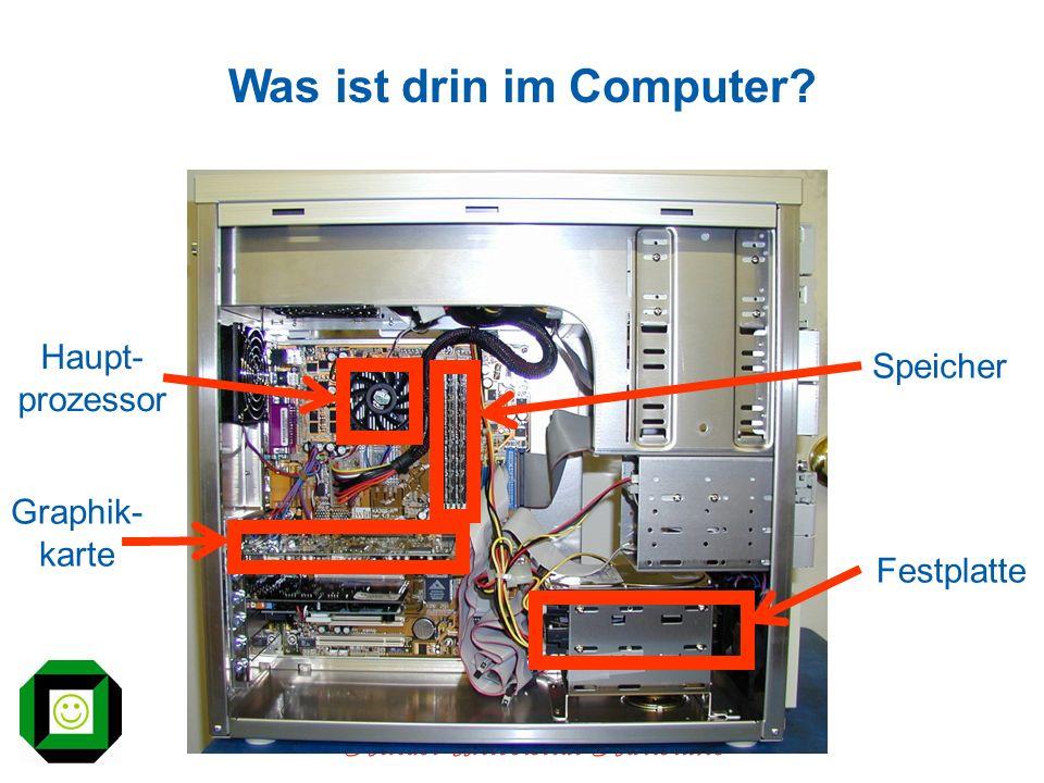 Kinder-Universität Karlsruhe Was ist drin im Computer? Graphik- karte Haupt- prozessor Speicher Festplatte