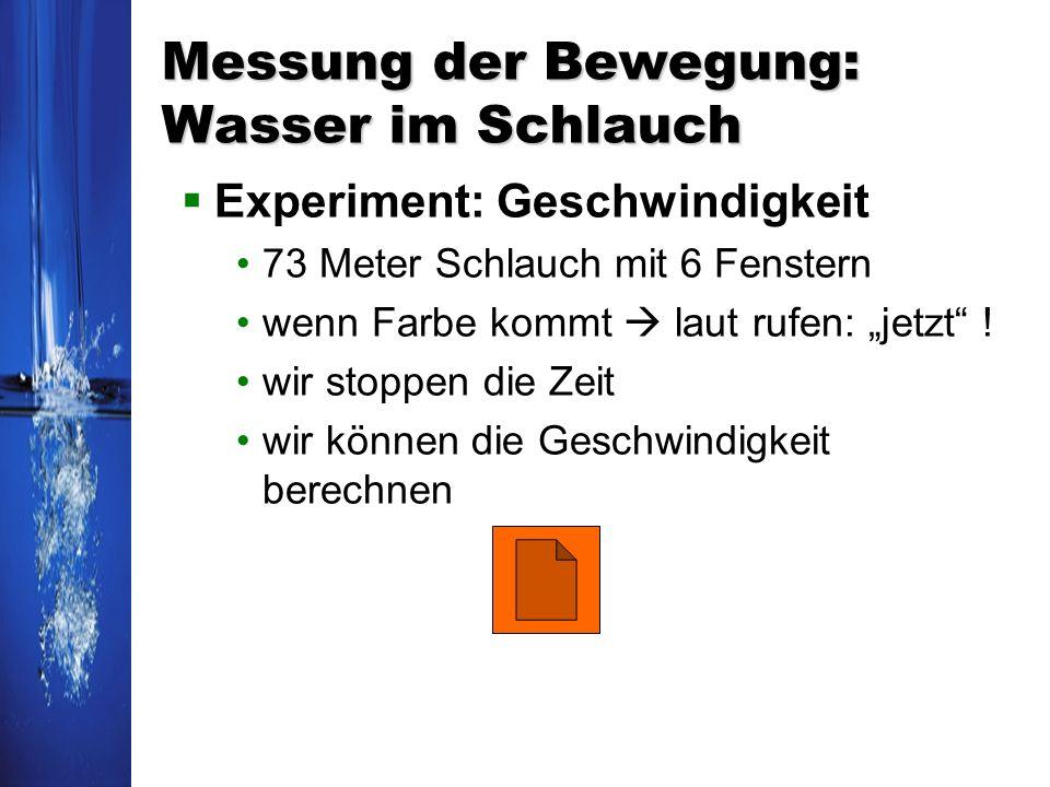 Messung der Bewegung: Wasser im Schlauch Experiment: Geschwindigkeit 73 Meter Schlauch mit 6 Fenstern wenn Farbe kommt laut rufen: jetzt ! wir stoppen