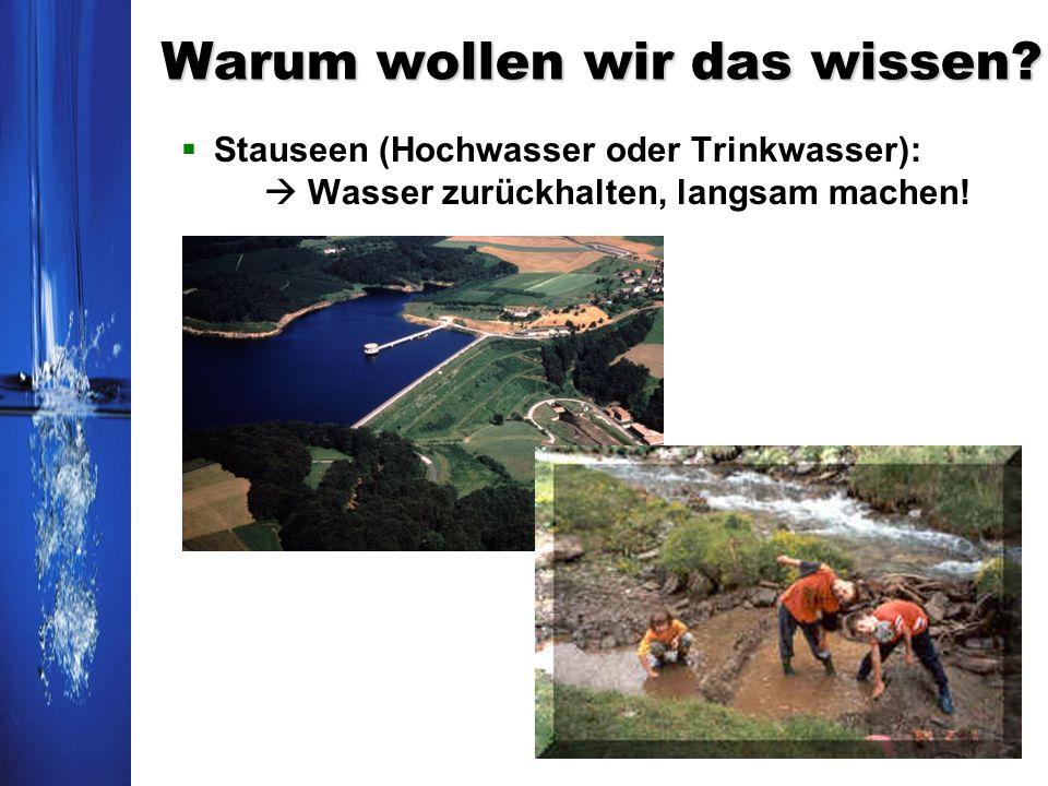 Warum wollen wir das wissen? Stauseen (Hochwasser oder Trinkwasser): Wasser zurückhalten, langsam machen!