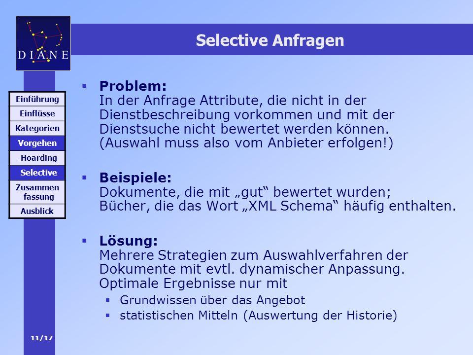 11/17 Selective Anfragen Problem: In der Anfrage Attribute, die nicht in der Dienstbeschreibung vorkommen und mit der Dienstsuche nicht bewertet werde