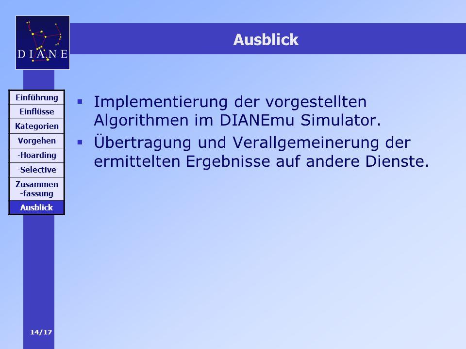 14/17 Ausblick Implementierung der vorgestellten Algorithmen im DIANEmu Simulator. Übertragung und Verallgemeinerung der ermittelten Ergebnisse auf an