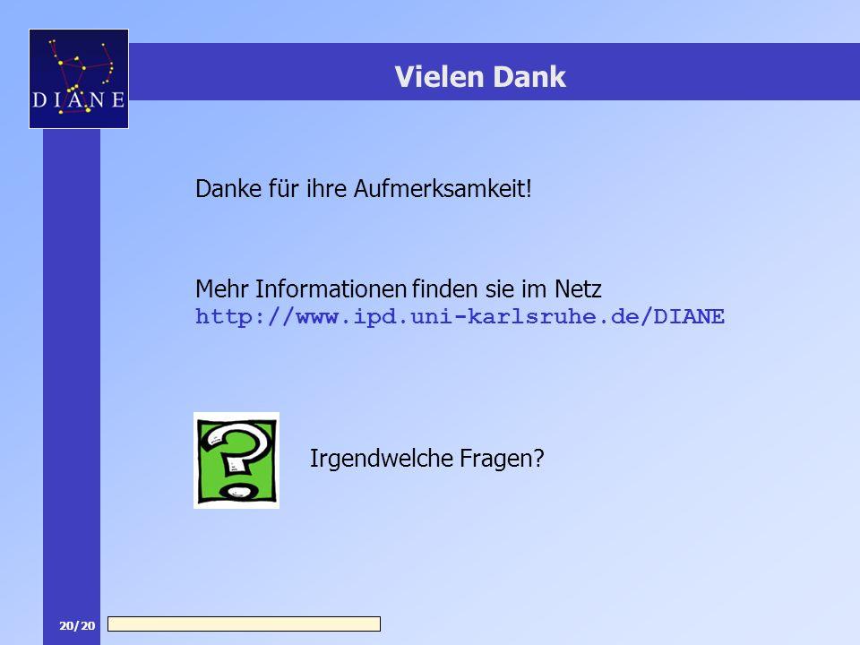 20/20 Vielen Dank Mehr Informationen finden sie im Netz http://www.ipd.uni-karlsruhe.de/DIANE Irgendwelche Fragen? Danke für ihre Aufmerksamkeit!
