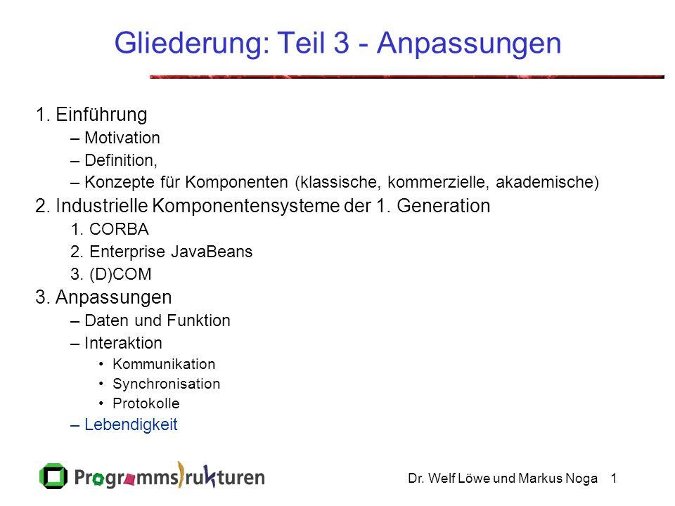 Dr. Welf Löwe und Markus Noga1 Gliederung: Teil 3 - Anpassungen 1. Einführung –Motivation –Definition, –Konzepte für Komponenten (klassische, kommerzi