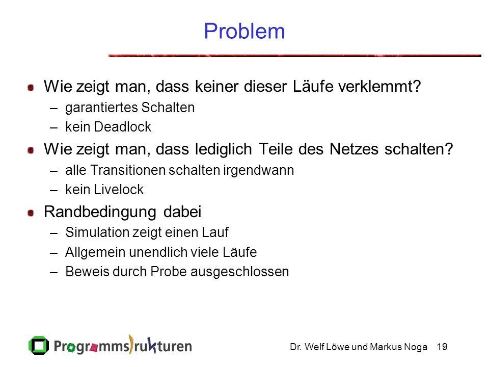 Dr. Welf Löwe und Markus Noga19 Problem Wie zeigt man, dass keiner dieser Läufe verklemmt? –garantiertes Schalten –kein Deadlock Wie zeigt man, dass l