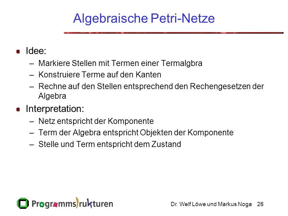 Dr. Welf Löwe und Markus Noga26 Algebraische Petri-Netze Idee: –Markiere Stellen mit Termen einer Termalgbra –Konstruiere Terme auf den Kanten –Rechne