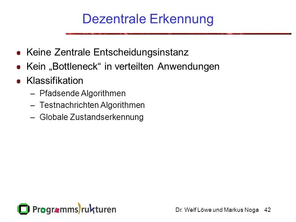 Dr. Welf Löwe und Markus Noga42 Dezentrale Erkennung Keine Zentrale Entscheidungsinstanz Kein Bottleneck in verteilten Anwendungen Klassifikation –Pfa