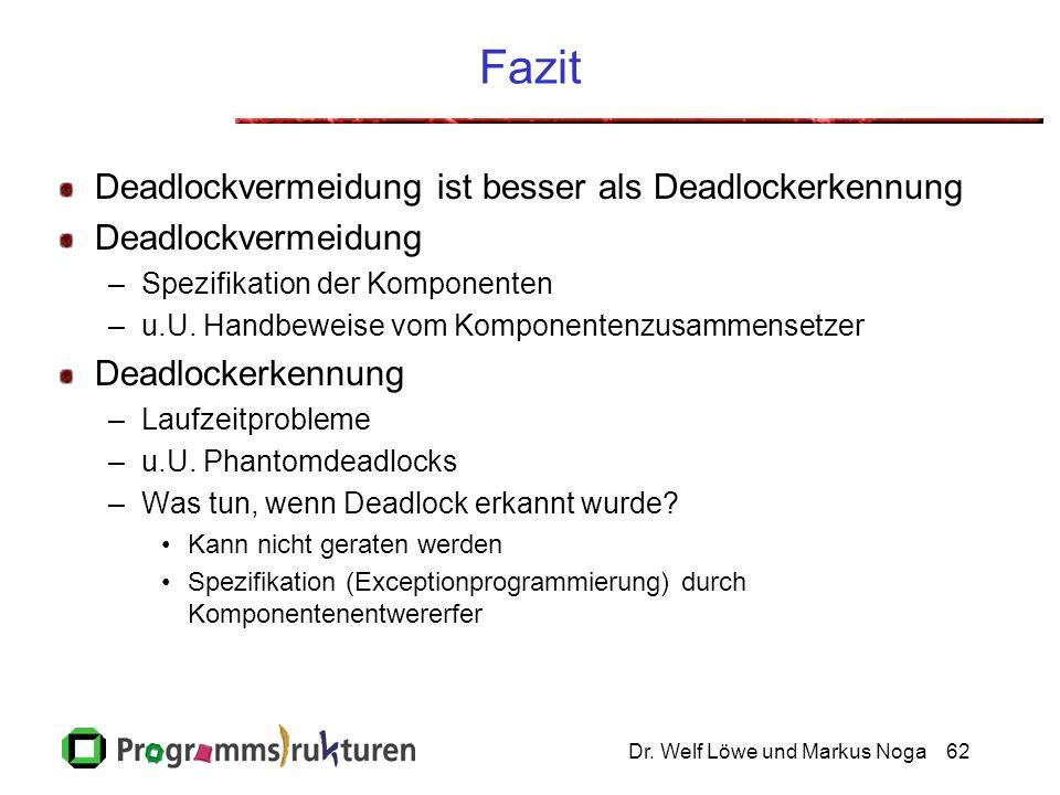 Dr. Welf Löwe und Markus Noga62 Fazit Deadlockvermeidung ist besser als Deadlockerkennung Deadlockvermeidung –Spezifikation der Komponenten –u.U. Hand