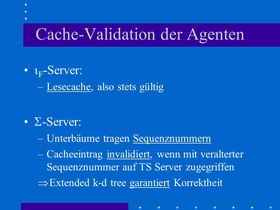Cache-Validation der Agenten F -Server: –Lesecache, also stets gültig -Server: –Unterbäume tragen Sequenznummern –Cacheeintrag invalidiert, wenn mit v