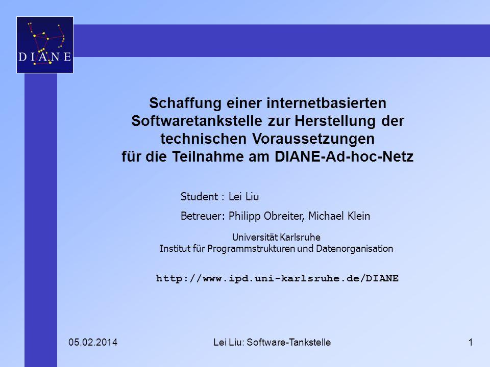 05.02.2014Lei Liu: Software-Tankstelle1 Schaffung einer internetbasierten Softwaretankstelle zur Herstellung der technischen Voraussetzungen für die T