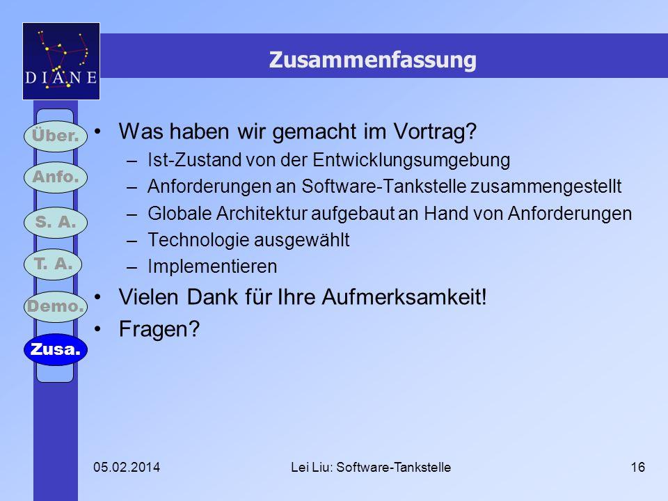 05.02.2014Lei Liu: Software-Tankstelle16 Zusammenfassung Was haben wir gemacht im Vortrag? –Ist-Zustand von der Entwicklungsumgebung –Anforderungen an