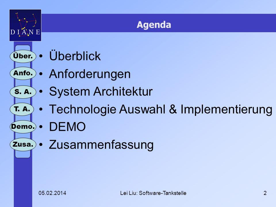 05.02.2014Lei Liu: Software-Tankstelle2 Agenda Überblick Anforderungen System Architektur Technologie Auswahl & Implementierung DEMO Zusammenfassung Über.
