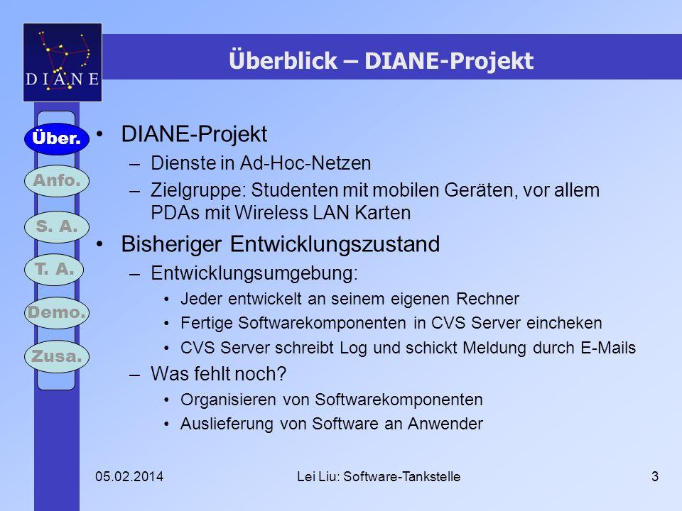 05.02.2014Lei Liu: Software-Tankstelle3 Überblick – DIANE-Projekt DIANE-Projekt –Dienste in Ad-Hoc-Netzen –Zielgruppe: Studenten mit mobilen Geräten,