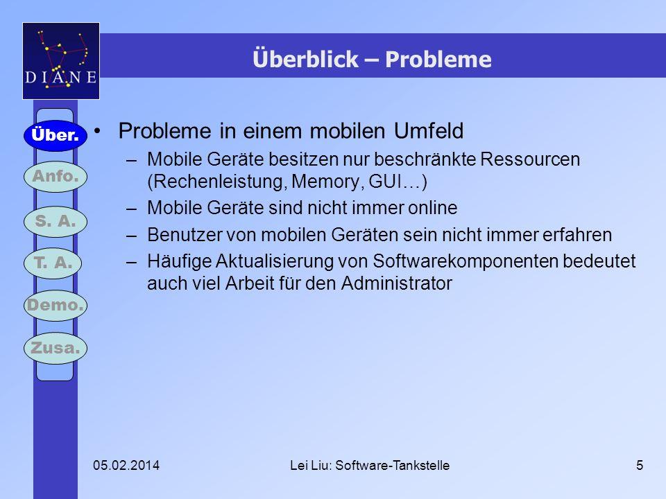 05.02.2014Lei Liu: Software-Tankstelle5 Überblick – Probleme Probleme in einem mobilen Umfeld –Mobile Geräte besitzen nur beschränkte Ressourcen (Rech