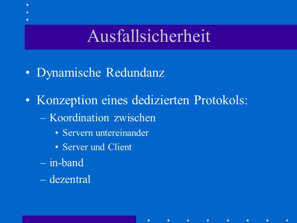 Ausfallsicherheit Dynamische Redundanz Konzeption eines dedizierten Protokols: –Koordination zwischen Servern untereinander Server und Client –in-band –dezentral