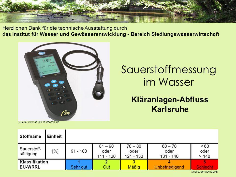 Sauerstoffmessung im Wasser Kläranlagen-Abfluss Karlsruhe Quelle: www.aquakulturtechnik.de Quelle: Schade (2006) Herzlichen Dank für die technische Au