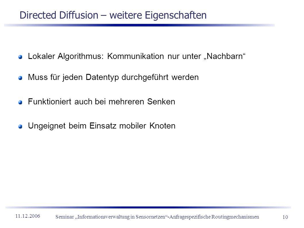 11.12.2006 Seminar Informationsverwaltung in Sensornetzen-Anfragespezifische Routingmechanismen 10 Directed Diffusion – weitere Eigenschaften Lokaler
