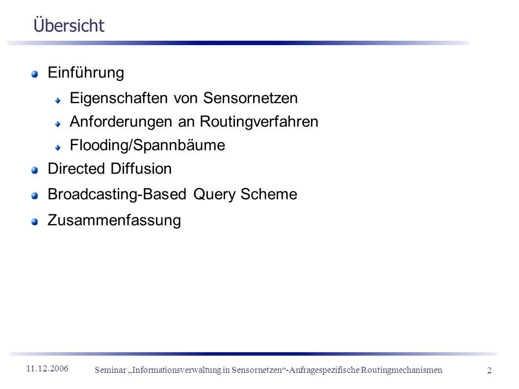 11.12.2006 Seminar Informationsverwaltung in Sensornetzen-Anfragespezifische Routingmechanismen 2 Übersicht Einführung Eigenschaften von Sensornetzen