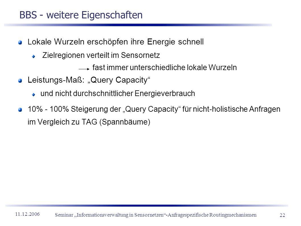 11.12.2006 Seminar Informationsverwaltung in Sensornetzen-Anfragespezifische Routingmechanismen 22 BBS - weitere Eigenschaften L okale Wurzeln erschöp