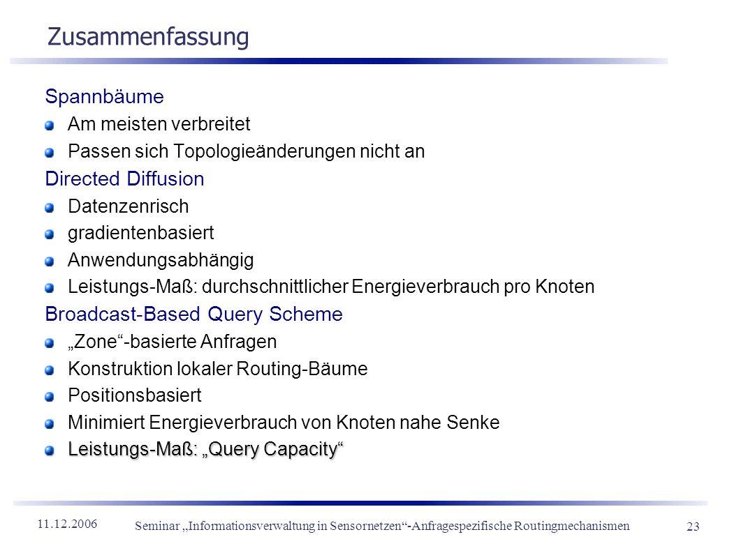 11.12.2006 Seminar Informationsverwaltung in Sensornetzen-Anfragespezifische Routingmechanismen 23 Zusammenfassung Spannbäume Am meisten verbreitet Pa