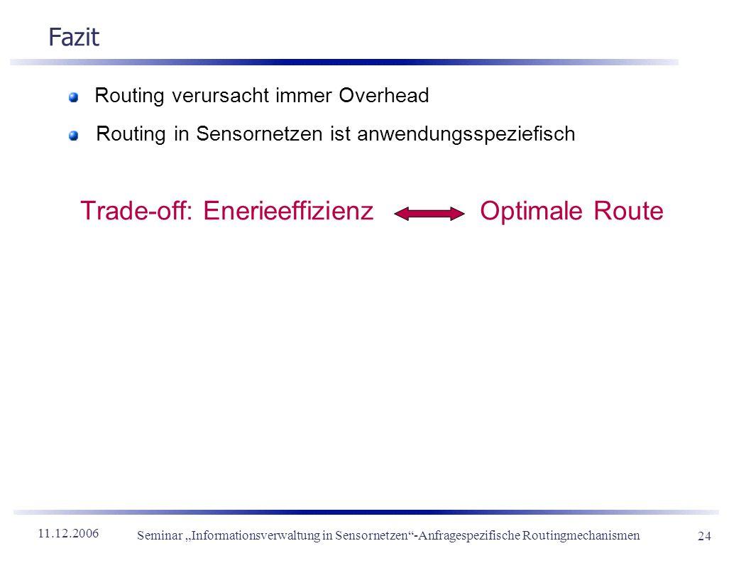 11.12.2006 Seminar Informationsverwaltung in Sensornetzen-Anfragespezifische Routingmechanismen 24 Fazit Routing verursacht immer Overhead Routing in