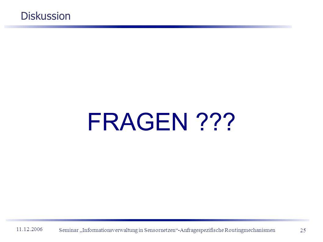 11.12.2006 Seminar Informationsverwaltung in Sensornetzen-Anfragespezifische Routingmechanismen 25 Diskussion FRAGEN ???