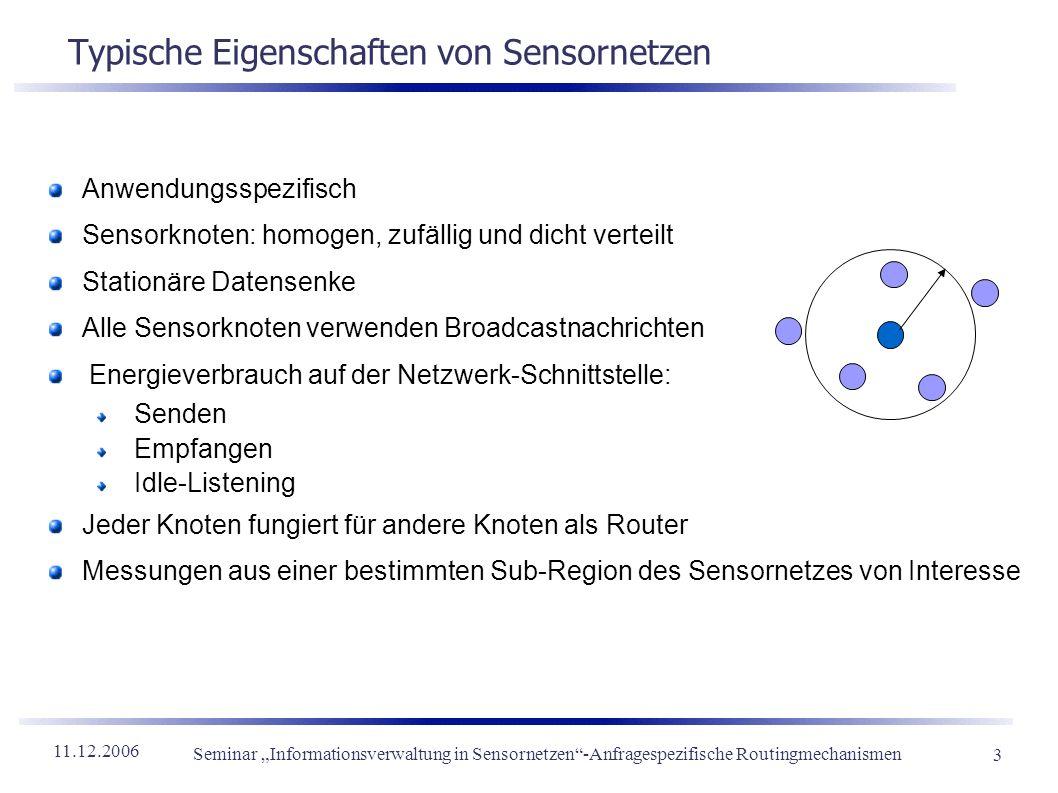 11.12.2006 Seminar Informationsverwaltung in Sensornetzen-Anfragespezifische Routingmechanismen 3 Typische Eigenschaften von Sensornetzen Anwendungssp